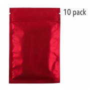 Small Mylar Zip Top Bag - Red (10-Pack)