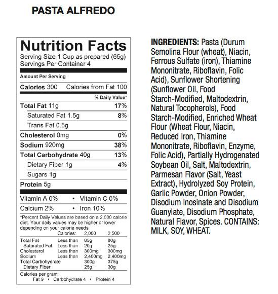 Fazoli S Alfredo Nutrition Facts - Nutrition Ftempo