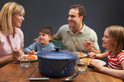 Family enjoying food storage.